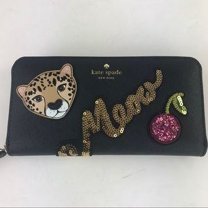 Kate spade run wild leopard Sequin Neda wallet new
